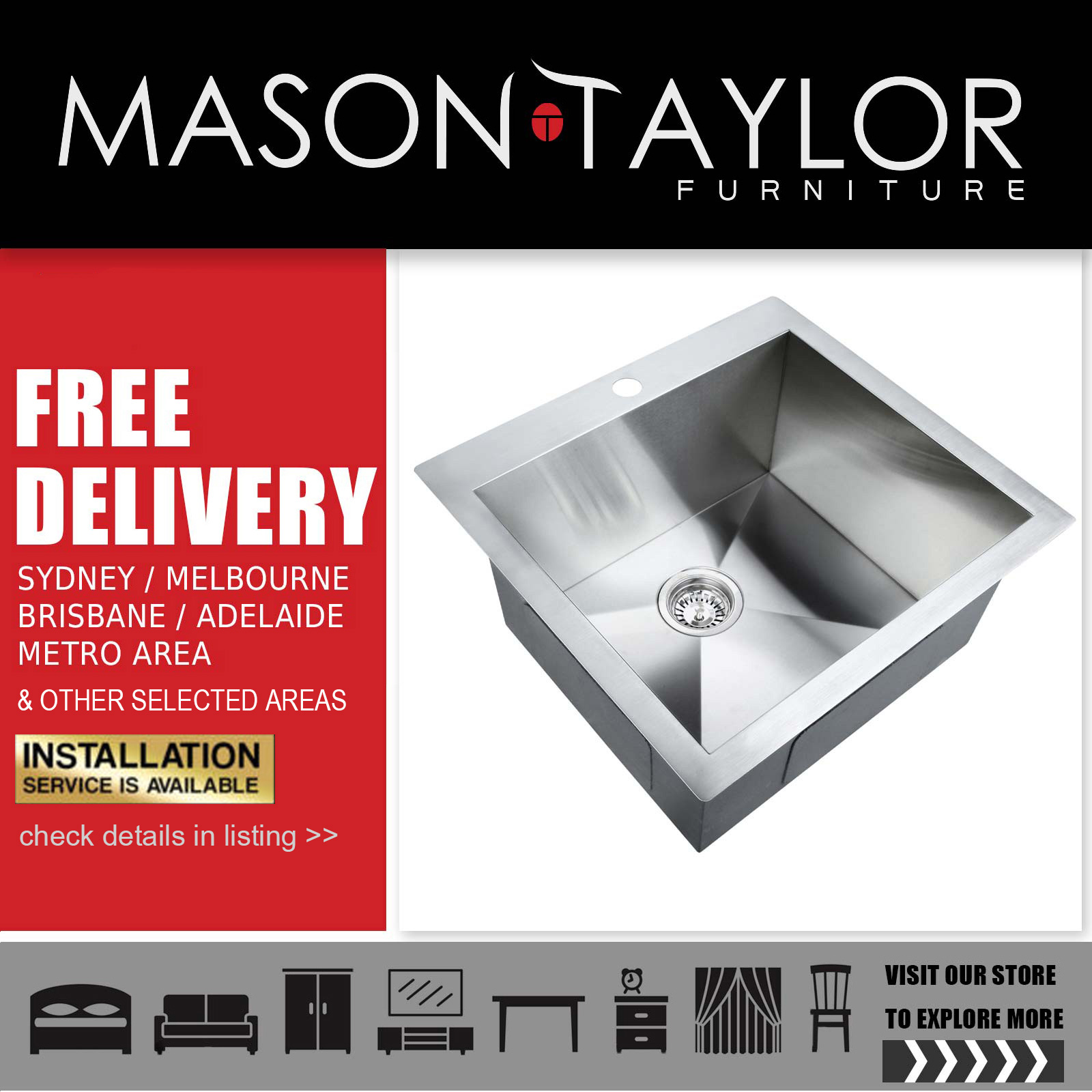 Mason Taylor Cefito 530 x 500mm Stainless Steel Sink AU