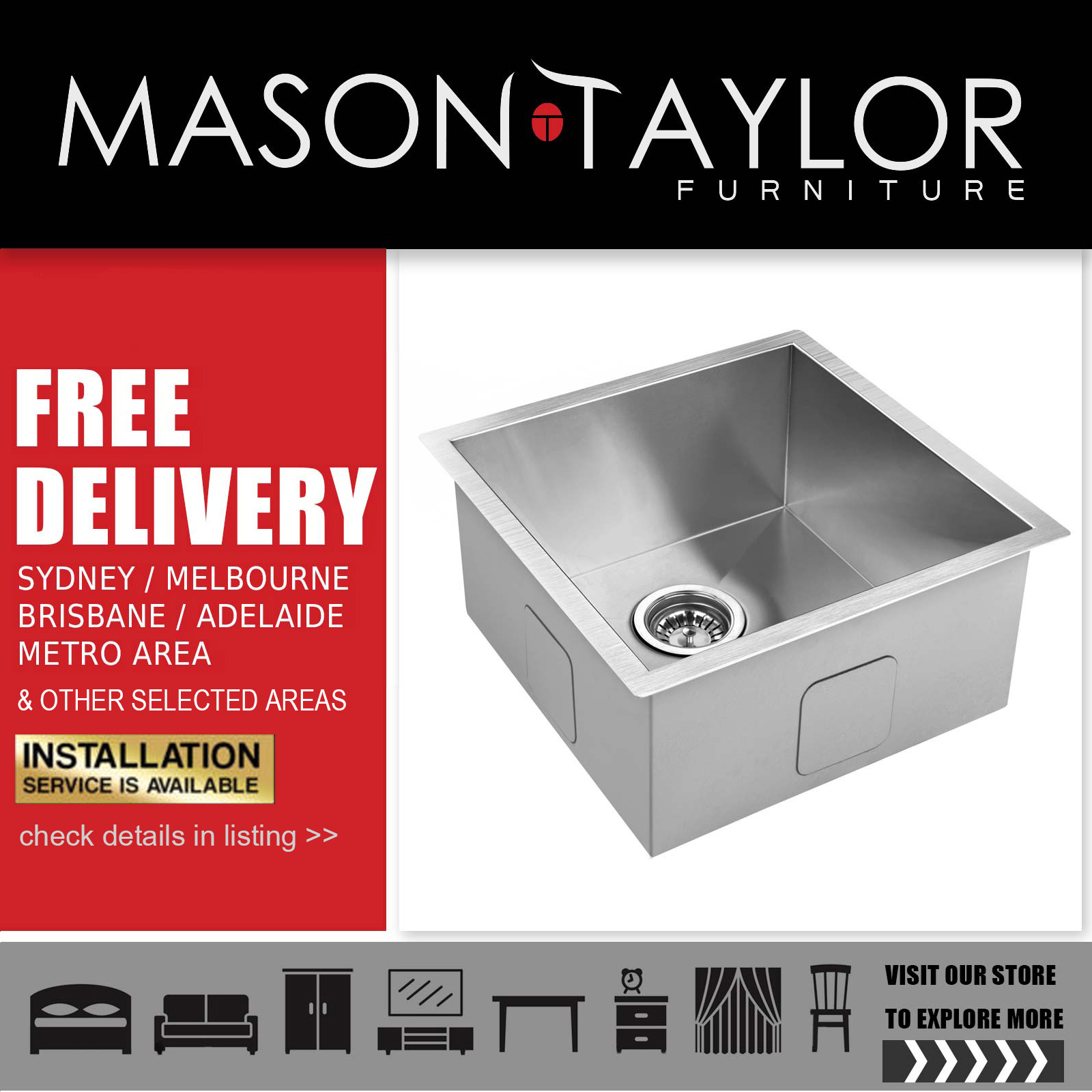 Mason Taylor Cefito 510 x 450mm Stainless Steel Sink Local Store