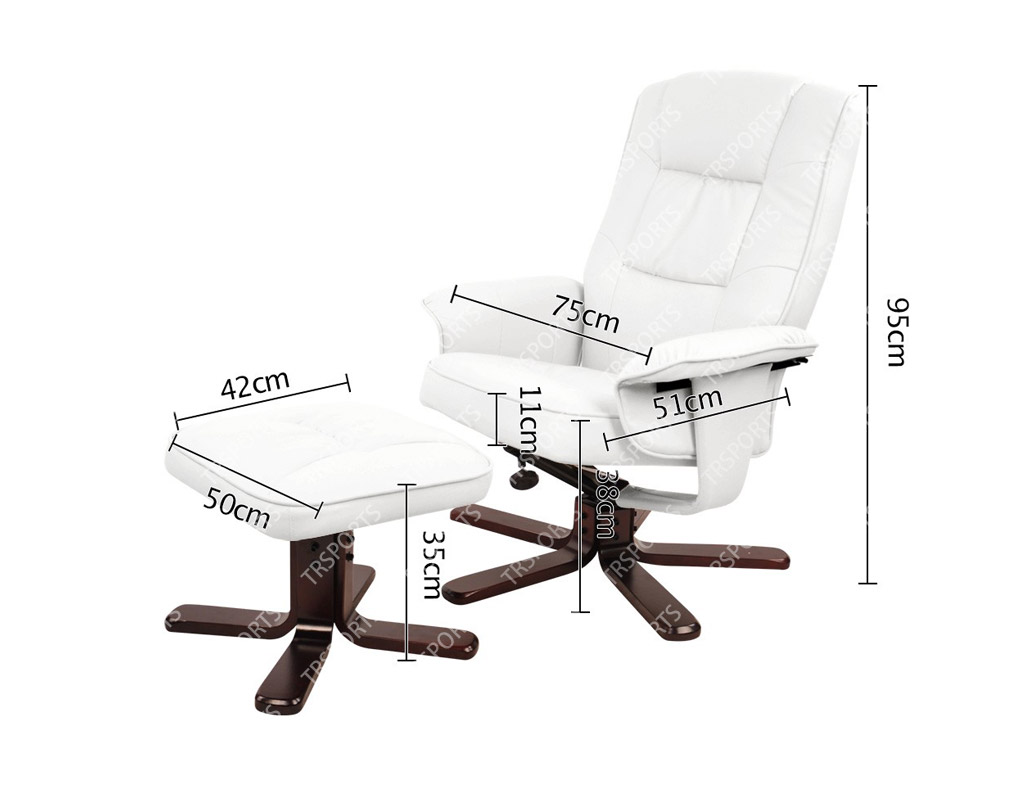 office recliner chair. pu leather lounge office recliner chair ottoman white r