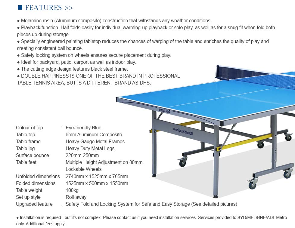 Double happiness outdoor ping pong table tennis table - What is the size of a ping pong table ...