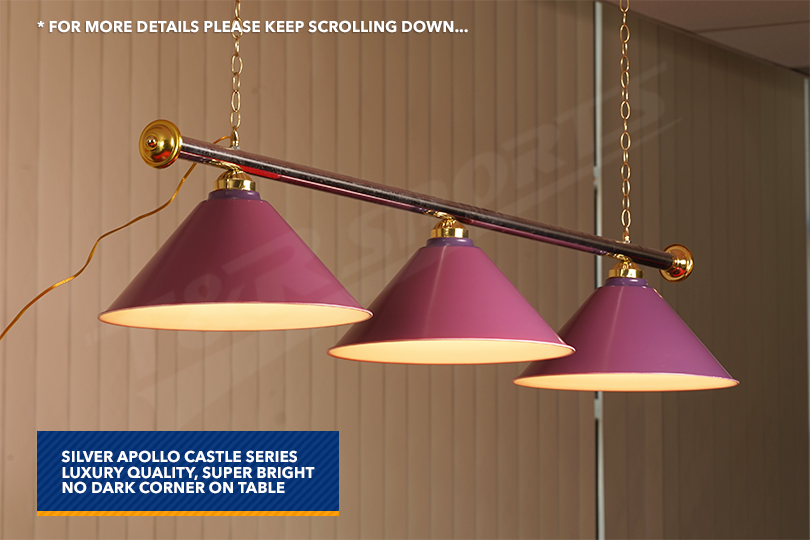 purple metal pool billiard snooker table light. Black Bedroom Furniture Sets. Home Design Ideas